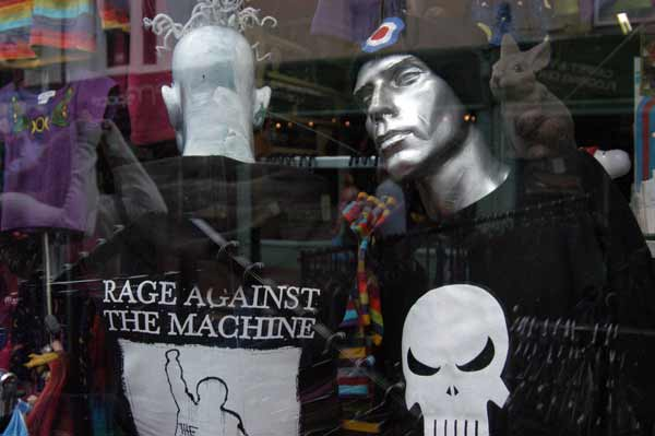 Brighton shop window. Rage Against the Machine.