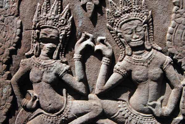 Cambodia, carving of dancers on a temple wall