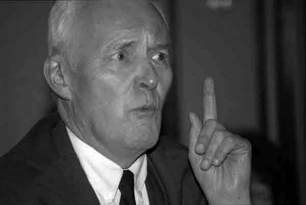 Tony Benn making a point with his hand, c.1995