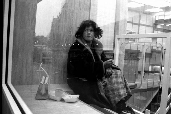 Bishopsgate lady through a window
