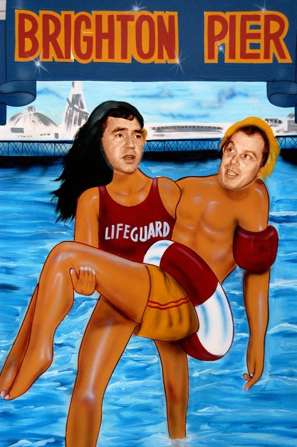 Gordon Brown and Tony Blair on Brighton Pier