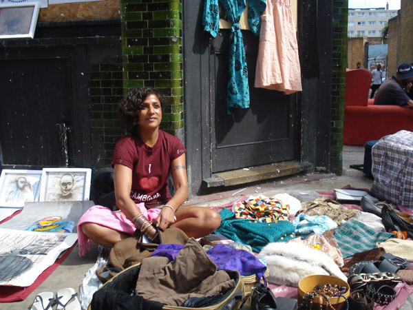 Woman selling clothes on Brick Lane, 2009