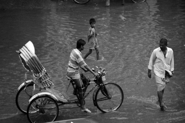 Rickshaw in a flood, Dhaka Bangladesh c. 1992