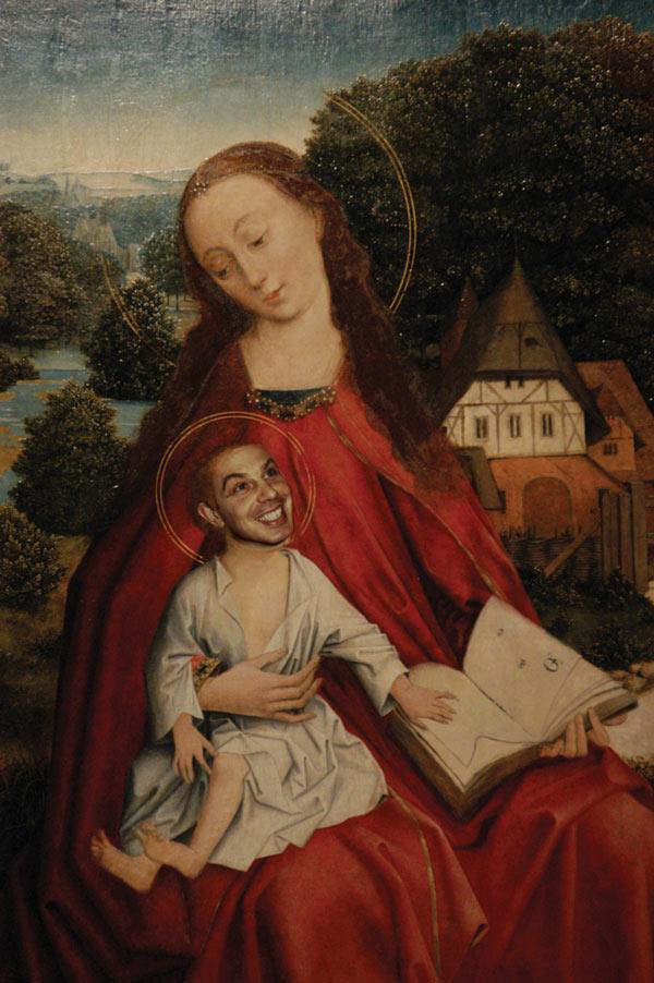 Tony Blair as the baby Jesus, photomontage