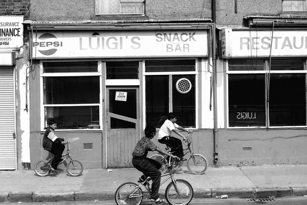 Three bicycles on Vallance road, 1987