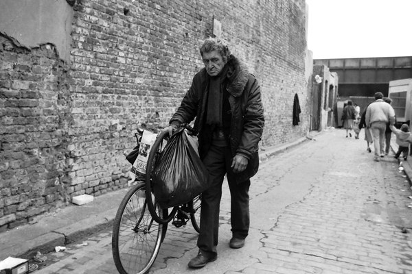 Man with his bike, Grimsby street 1988