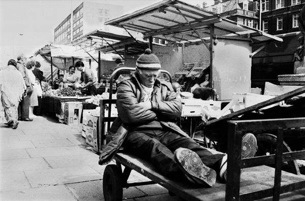 Man sleeping in Whitechapel Market