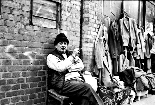 Second hand clothes man, Cheshire Street 1988
