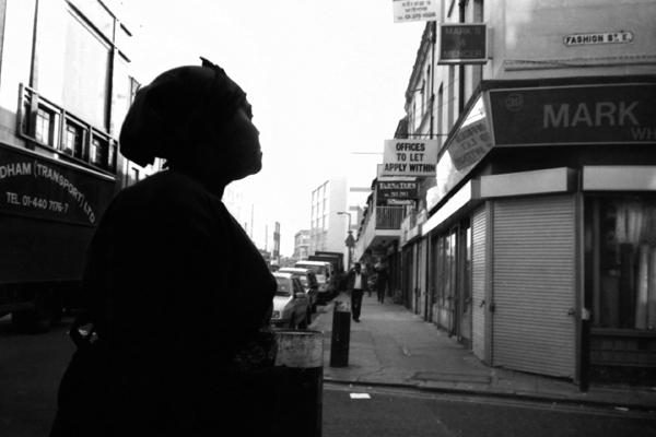 Woman walking into Fashion Street