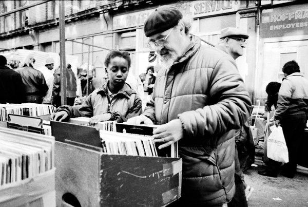 Record stall in Cheshire Street, 1985