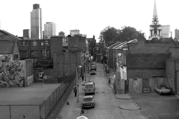 Heneage Street with the City on the horizon