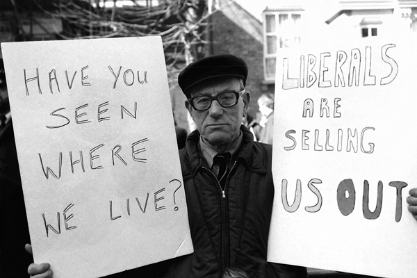 Protesting against the sale of Council Housing, 1980's