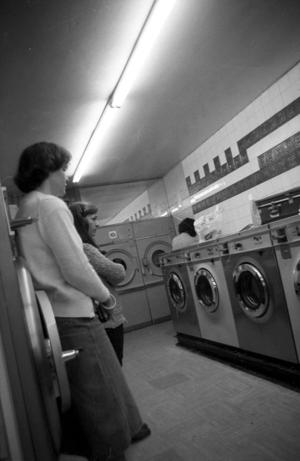 Women in launderette, Liverpool 1980