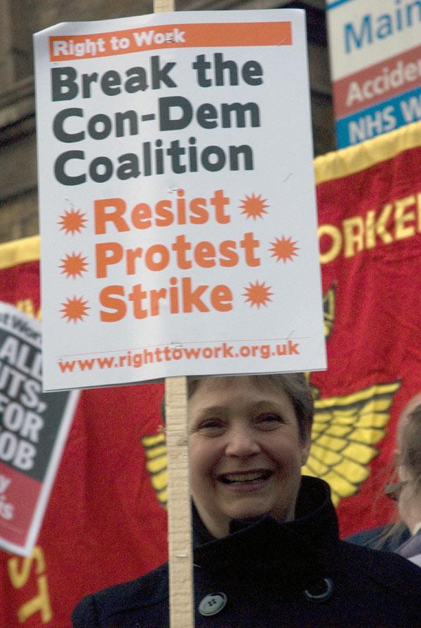Demonstrator outside the London Hospital, 09/03/2011