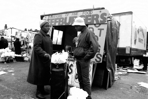 Mother and son at the Sclater Street market, 1998