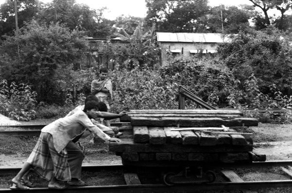 Railway workers maintaining track in Sylhet, 1992