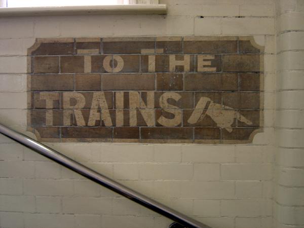 Tiled instruction, Stepney Green Station 2004