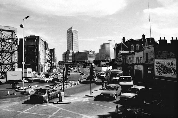 Canary Wharf from the top of a bus on East India Dock Road, 1990