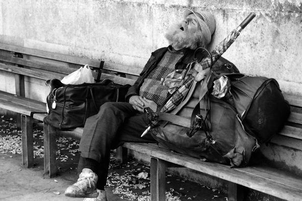 Taking a nap, Embankment London 1990
