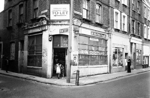 Entrance to 'Harry's' newsagents, Brick Lane 1984