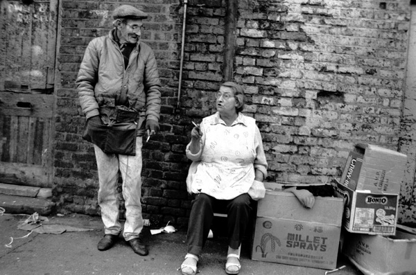 Market traders at the Brick Lane Market, Sclater Street 1987