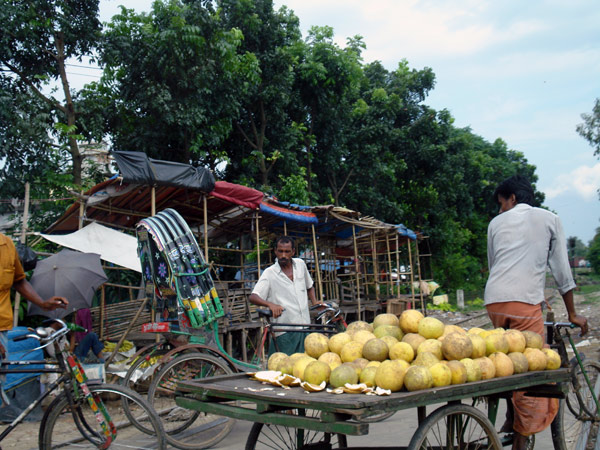 A rickshaw cart moves fruit