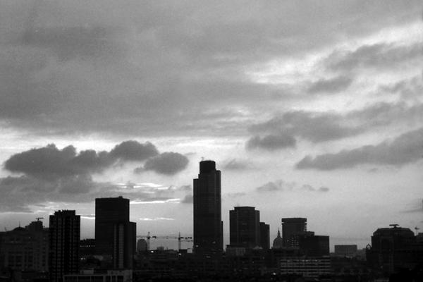 City skyline from Whitechapel, 1985