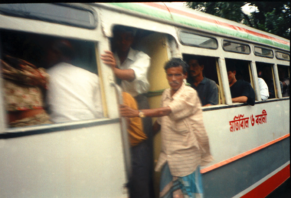 Bus in motion, Dhaka Bangladesh 1991