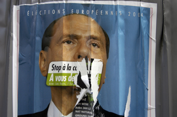 A defaced poster of Jacques Chirac, Paris 2004