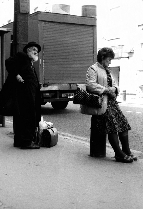 Bus stop, Commercial Street, London 1992