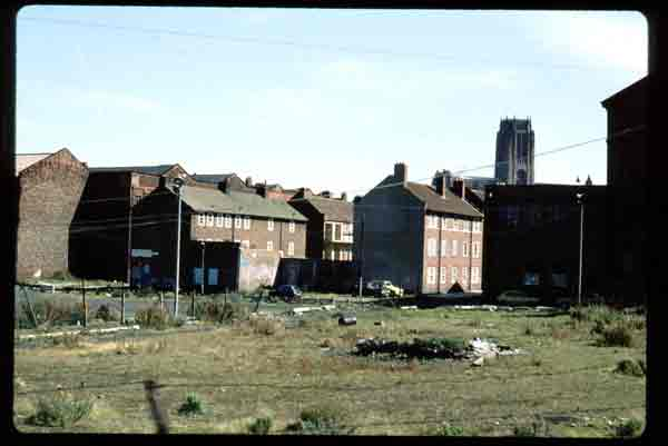 Distant view of the Anglican Cathedral. Liverpool late 1970's