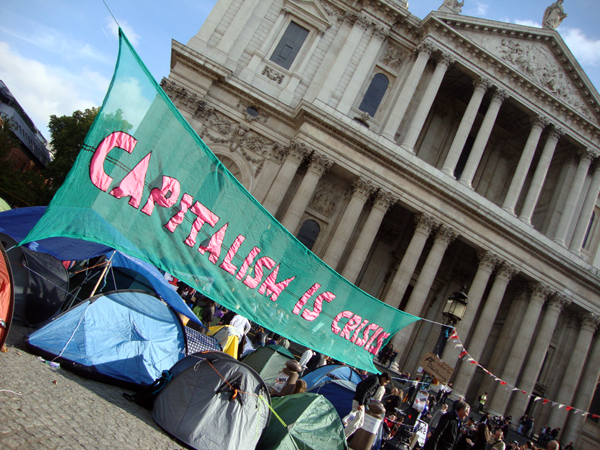 Capitalism in Crisis protest, St Pauls Cathedral 2011.