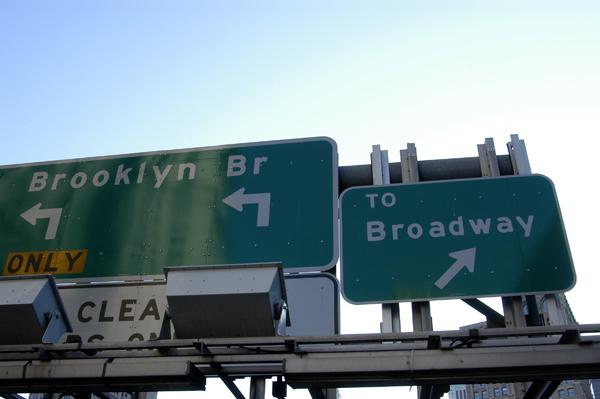 Signs on a bridge. New York 2005