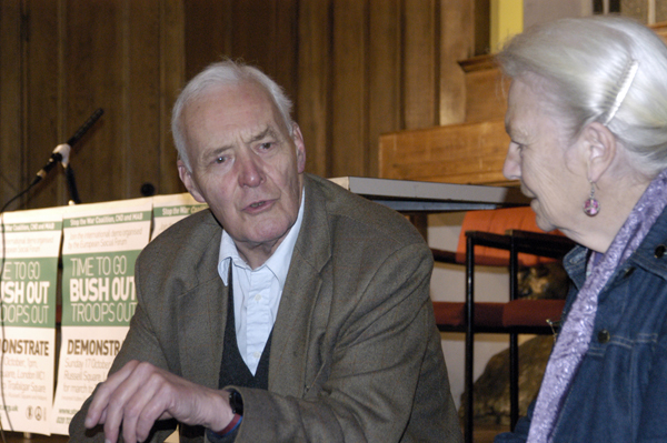 Tony Benn shortly before the start of a Stop the War meeting at QMW college in 2002. in 2002