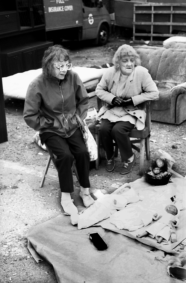 Car boot sale on a derelict site in 1987. Vallance Rd. London 1987