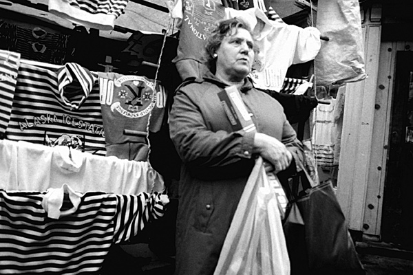 Market stall holder. Petticoat Lane. London 1988