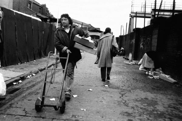 Market trader. Grimsby Street, London 1987