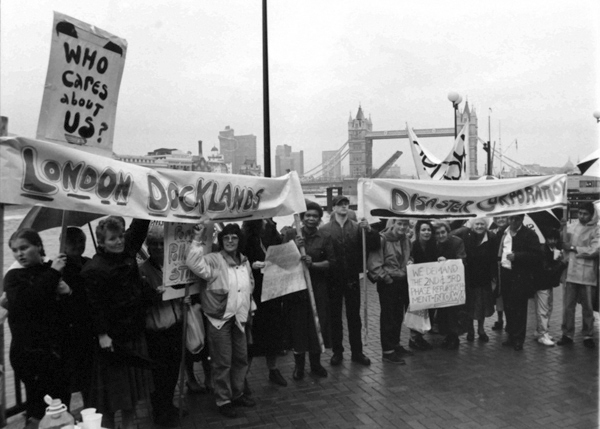 Protest opposite the 10th anniversary dinner. Docklands, 1991
