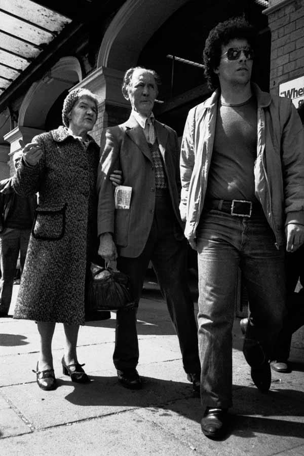 Couple outside Whitechapel station. Whitechapel 1987