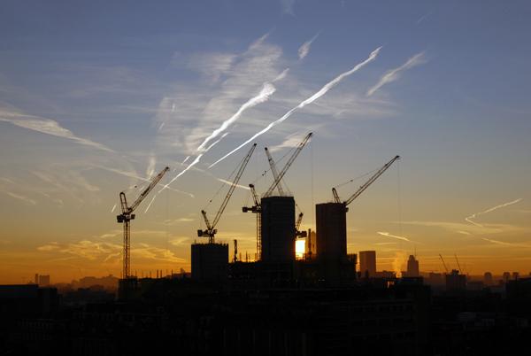City view looking towards Canary Wharf. London 2009