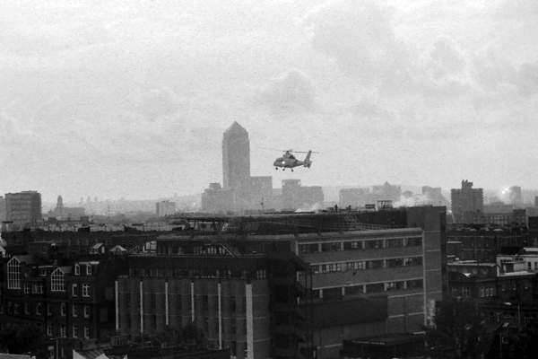 City view looking towards Canary Wharf. London 1989