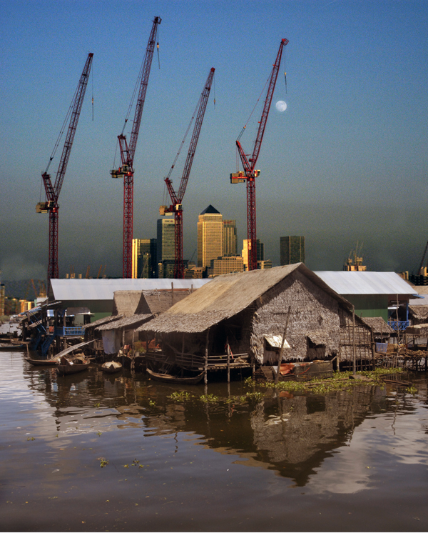 Four Cranes. Photomontage 2010