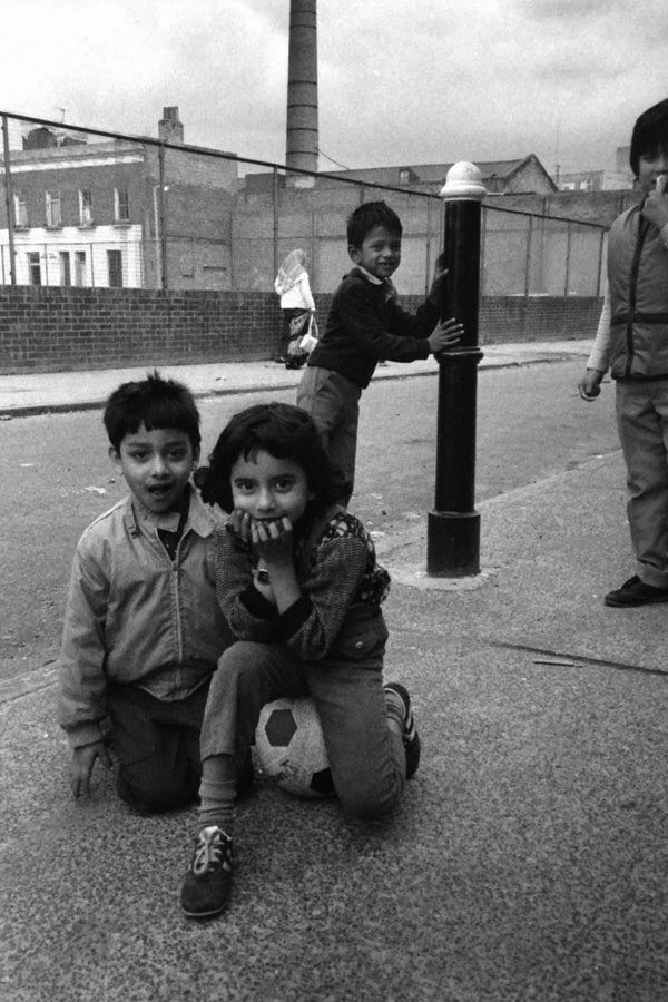 Footballers on the Chicksand Estate. Spitalfields, London 1982