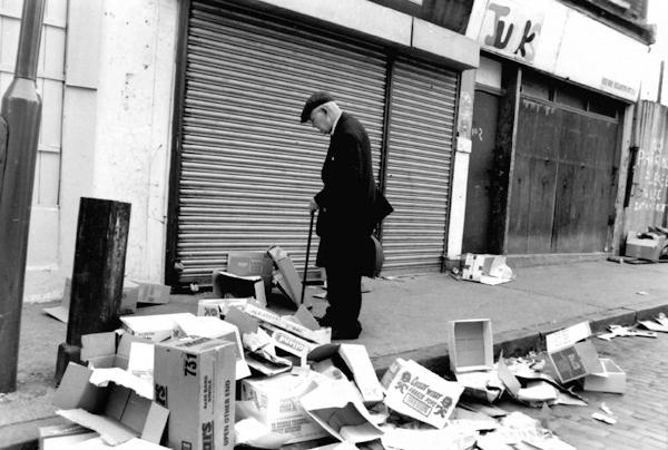 Used cardboard boxes. Brick Lane, London 1985