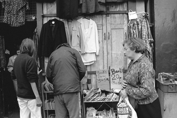 Second hand clothes and books. Cheshire Street, London 1984