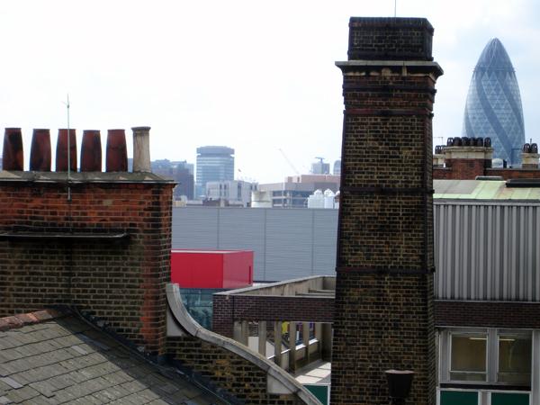Chimney stacks of the old London hospital. London 2004