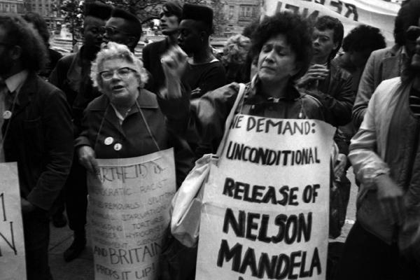 24 hour non stop picket. Trafalgar Square, London 1984
