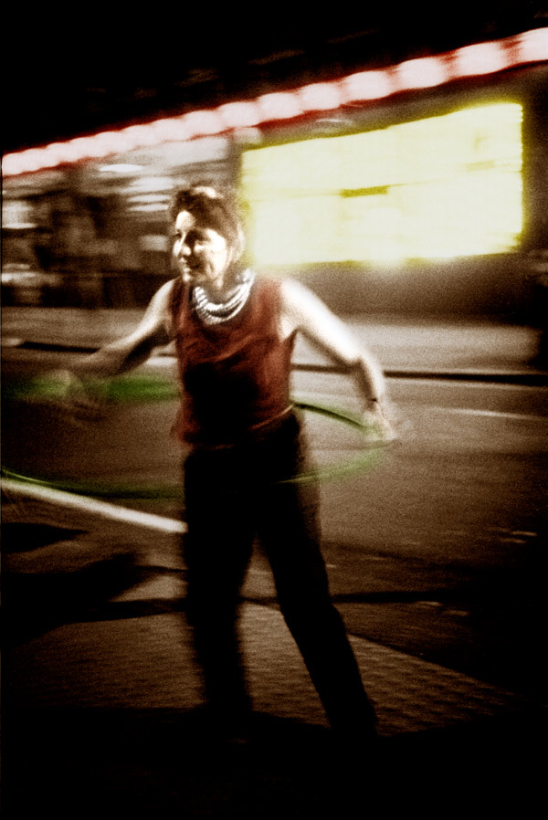 Sandra doing the Hula Hoop. Commercial Street 1997