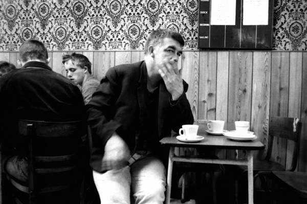 Man with cup of tea in Cafe. Whitechapel 1985