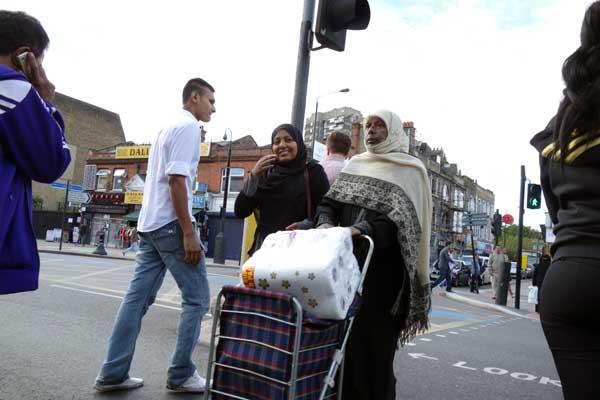 Crossing the road, Whitechapel, London 2012